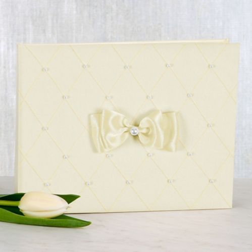 Ivory Wedding Guest Book Set, 3-pc