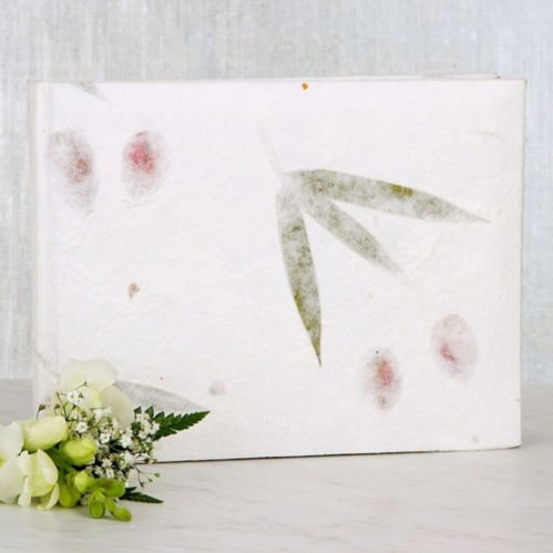 Pressed Leaves Wedding Guest Book