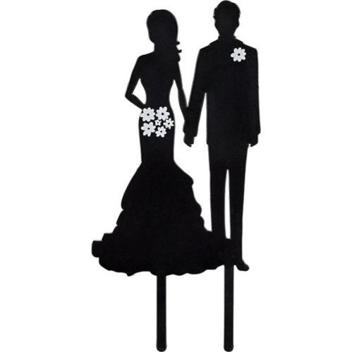 Bride & Groom Silhouette Cake Topper