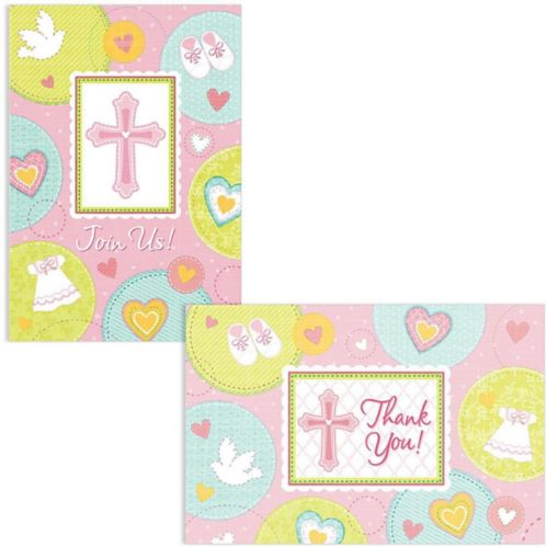 Sweet Religious Invitations Thank You Notes for 8, Pink