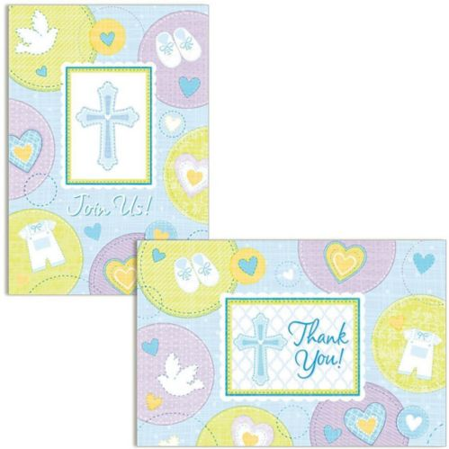 Sweet Religious Invitations Thank You Notes for 8, Blue