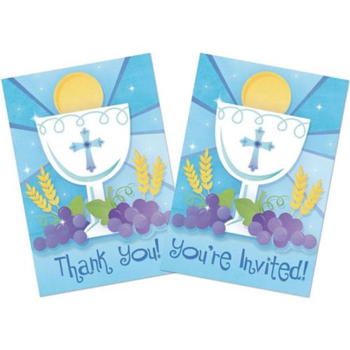 First Communion Invitations Thank You Notes Combo Pack, Blue 20-pk