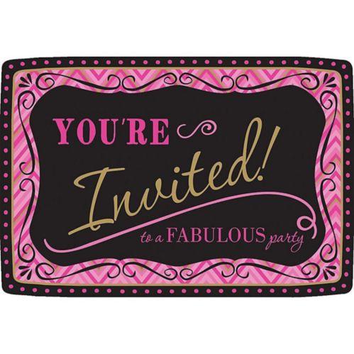 Pink Chevron Birthday Invitations, 20-pk - Born to Be Fabulous