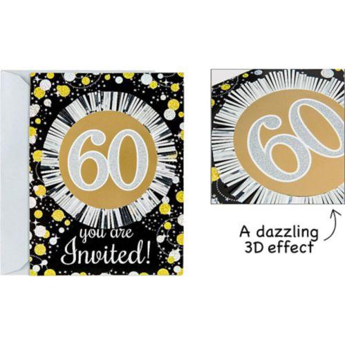 Sparkling Celebration 60th Birthday Invitations, 8-pk