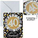 Invitations scintillantes de luxe 40e anniversaire, prismatique, paq. 8