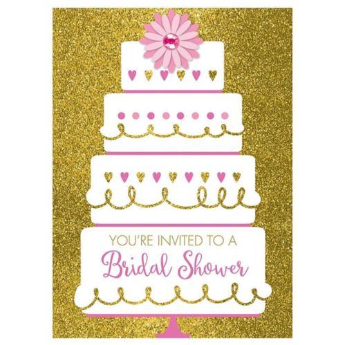 Gold Glitter Wedding Cake Bridal Shower Invitations, 8-pk
