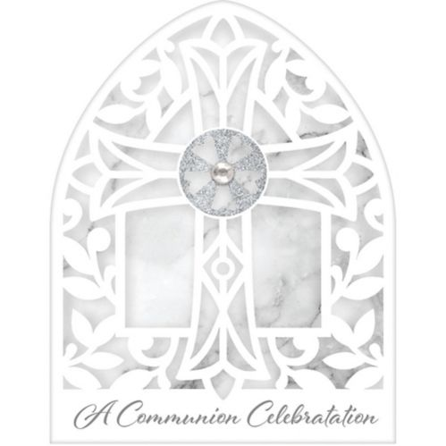 White & Gray Marble First Communion Invitations, 8-pk