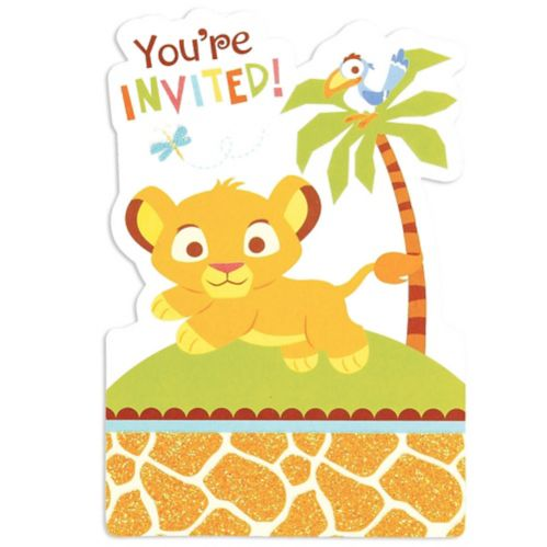 Invitations avec autocollants Le Roi lion, paq. 8