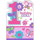 Sweet Girl 1st Birthday Invitations, 8-pk