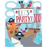 Pirate Shark Invitations, 8-pk