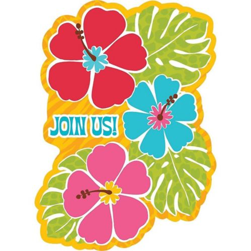 Bright Hibiscus Invitations, 20-pk