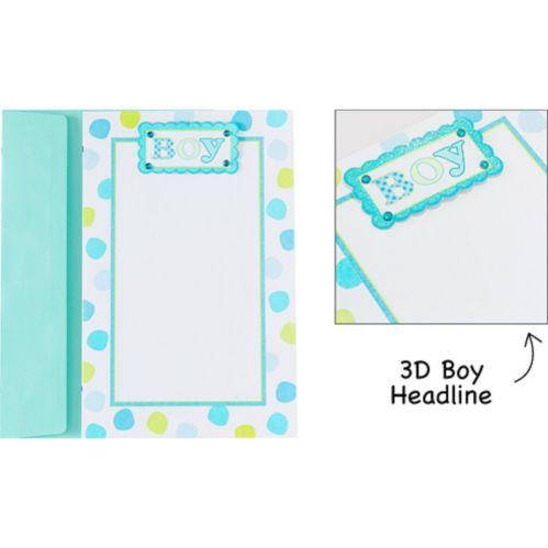 Printable Baby Blue Dot Invitations, 12-pk