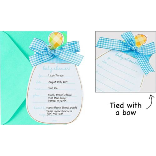 Blue Baby Bottle Invitations, 8-pk