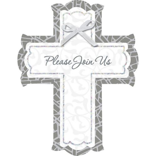 Stained Glass Religious Invitations, White, 8-pk