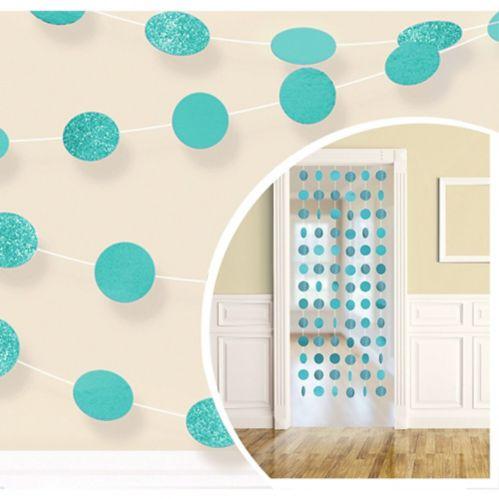 Glitter Robin's Egg Blue Polka Dot String Decorations, 6-pk