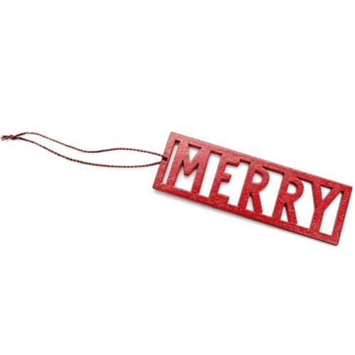 Red Merry Wood Gift Tag