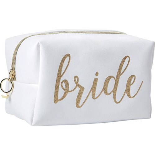 Glitter Gold Bride Makeup Bag