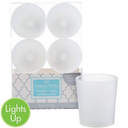 White Colour-Changing Votive Flameless LED Candles, 6-pk