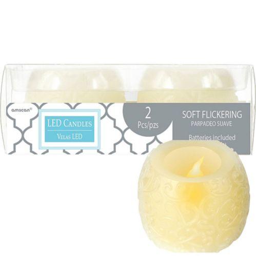 Ivory Filigree Flameless LED Candles, 2-pk