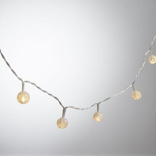 Mini White Crackle Globe LED String Lights