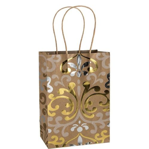 Damask Print Kraft Bag