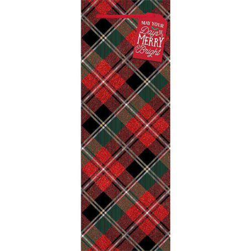 Holiday Plaid Glossy Bottle Bag