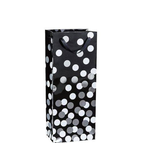 Metallic Dot Bottle Bag, Black/Silver/White