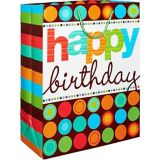 Retro Dot & Stripes Happy Birthday Gift Bag