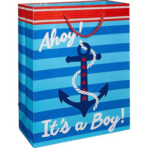 Striped Nautical Boy Baby Shower Gift Bag
