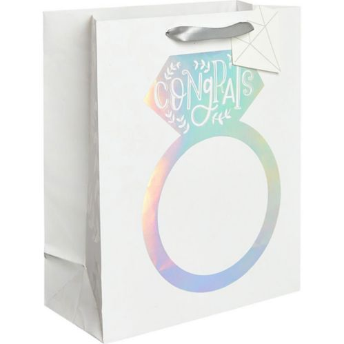 Medium Paper Iridescent Engagement Ring Gift Bag