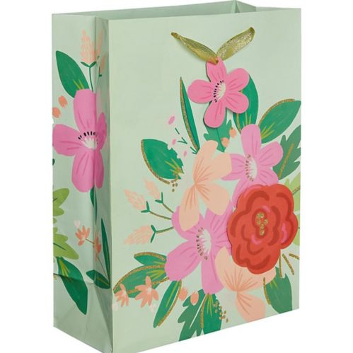 Large Glossy 3D Pink Floral Gift Bag