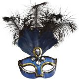 Blue Feather Masquerade Mask   Amscannull