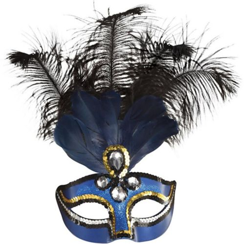 Blue Feather Masquerade Mask