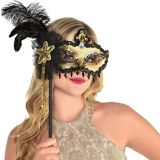 Black & Gold Venetian Masquerade Mask on a Stick | Amscannull