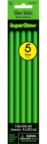 Glow Sticks, Green, 5-pk