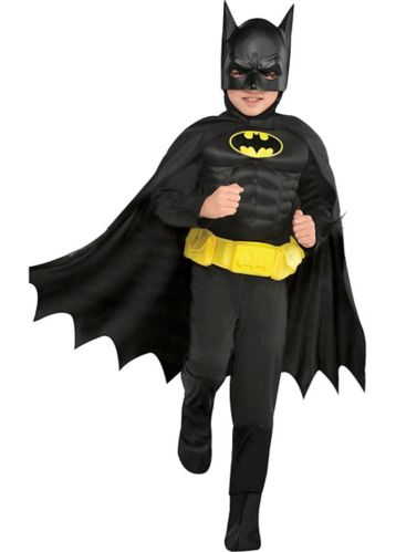 Costume d'Halloween de Batman de DC Comics avec muscles, enfants, petit