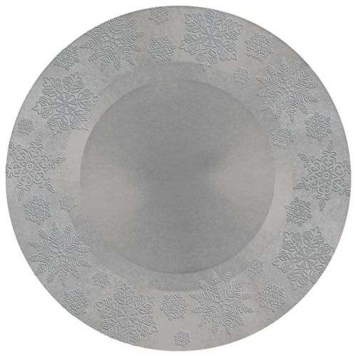 Embossed Snowflake Round Plastic Charger