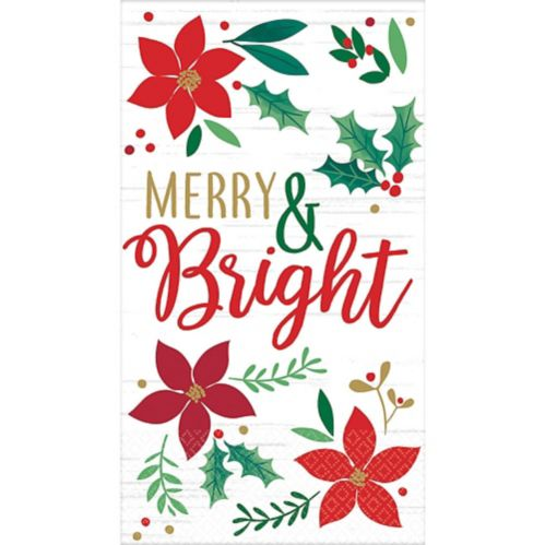 Holly Merry Christmas Guest Towels, 16-pk
