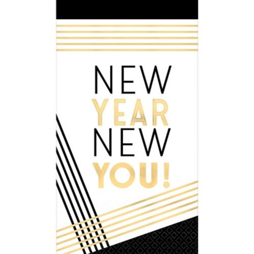 New Year New You Guest Towels, Metallic Gold, 16-pk