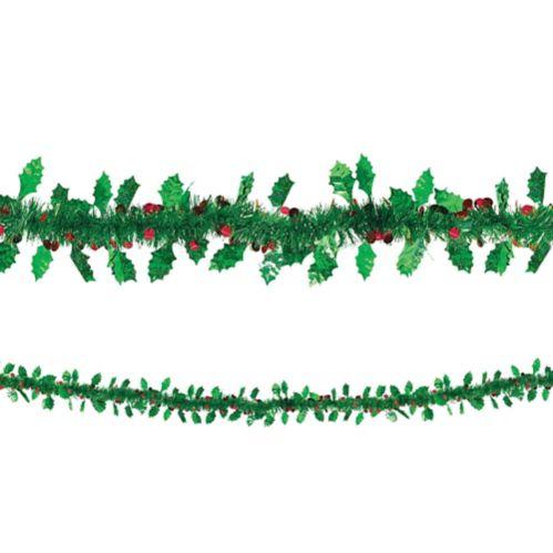 Holly Leaves & Berries Tinsel Garland