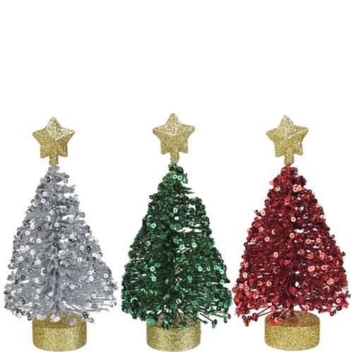 Sequin Christmas Tree Decorations, 3-pk