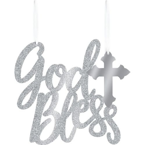 Glitter Silver God Bless Sign