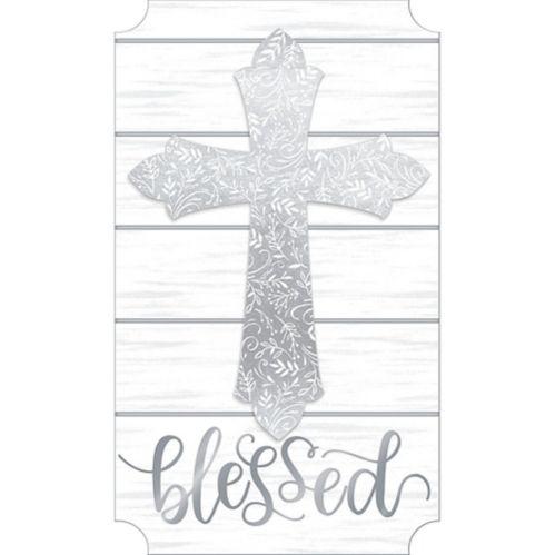 Glitter Silver Blessed Cross Easel Sign