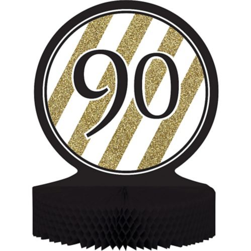 Striped 90 Honeycomb Centrepiece, White/Gold