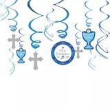Blue First Communion Swirl Decorations, 12-pk
