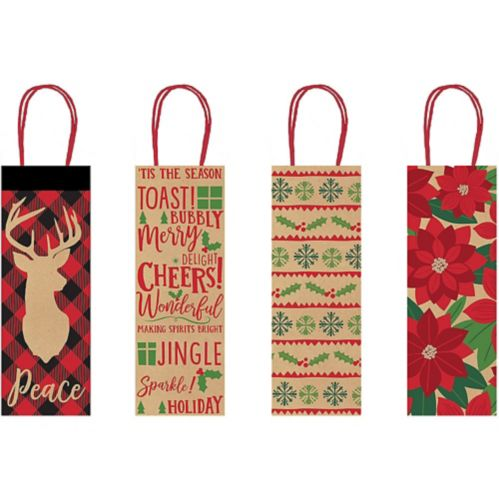 Holiday Tidings Kraft Bottle Bags, 4-pk