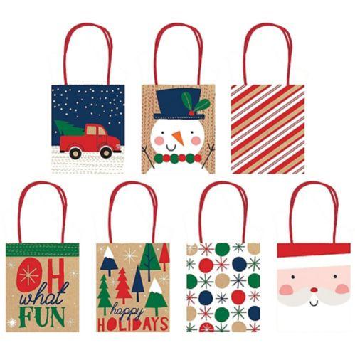 Kraft Christmas Gift Bags, 7-pk