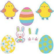 Glitter Hello Bunny Mini Easter Cut-outs, 10-pk
