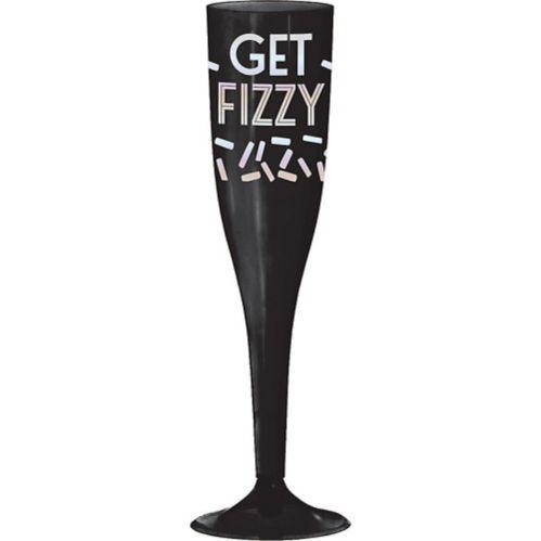 Iridescent Get Fizzy Plastic Champagne Flutes, Black, 16-pk