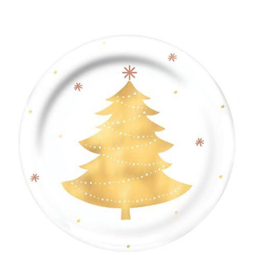 Assiettes à dîner en plastique de qualité supérieure Arbre de Noël, or, paq. 4